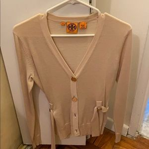 Tory Burch sand color cardigan with gold button